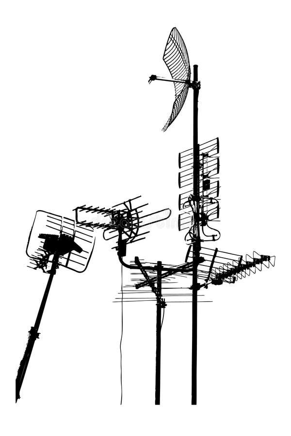 antennes de dessus de toit de télévision illustration de vecteur