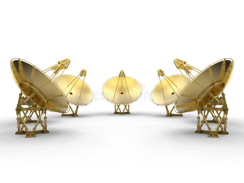 Antennes paraboliques d'or illustration libre de droits