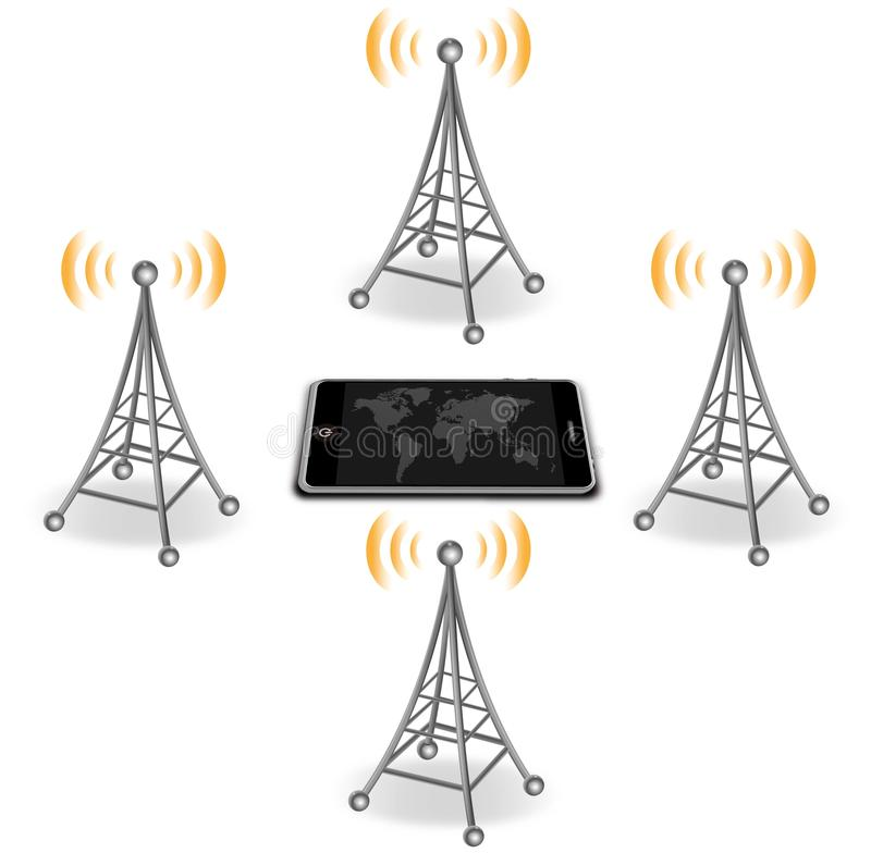 Antennes rond slimme telefoon vector illustratie