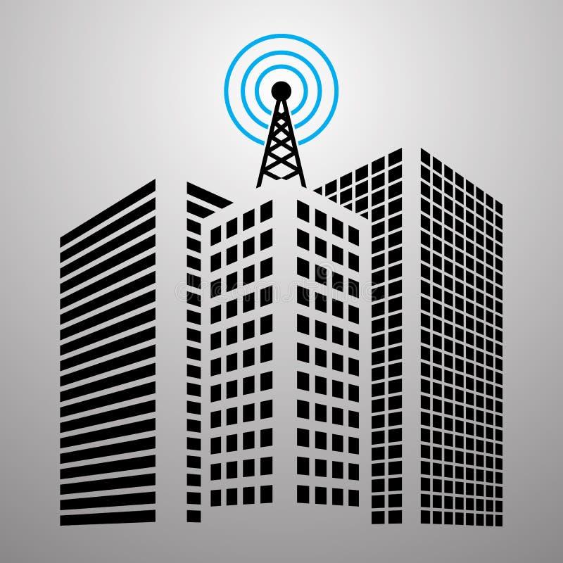 Antennes sur des bâtiments dans l'ensemble d'icône de ville illustration stock