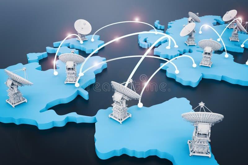 Anteny satelitarne dla globalnej komunikaci ilustracja wektor