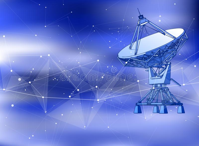 Anteny Satelitarnej antena Doppler radar, cyfrowa fala i błękitny technologii tło -, ilustracja wektor