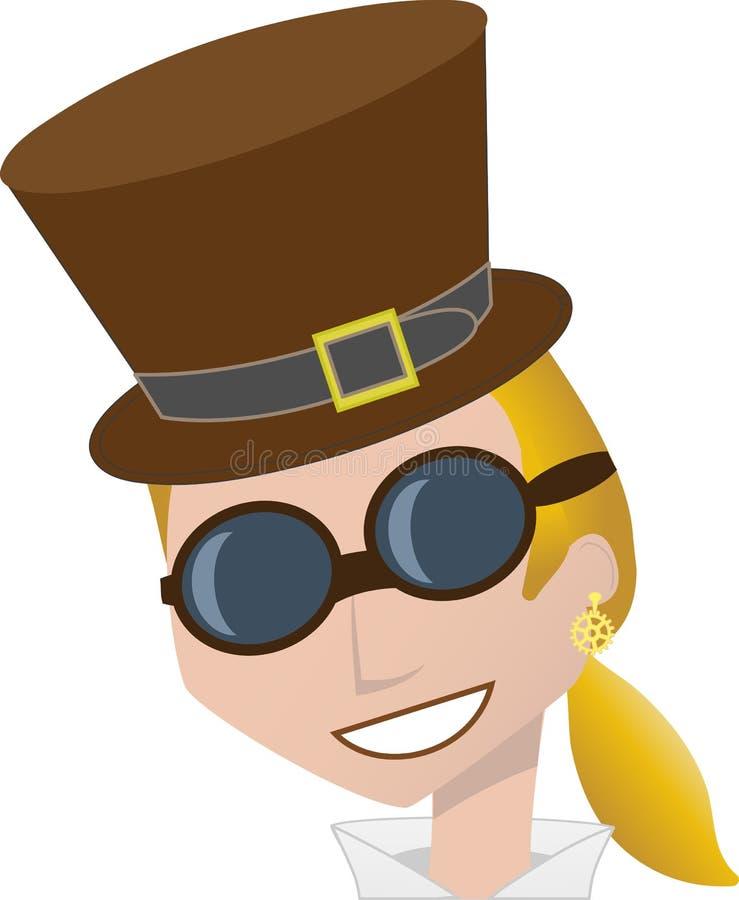 Anteojos sonrientes del sombrero superior de marrón del desgaste de mujer de Steampunk stock de ilustración