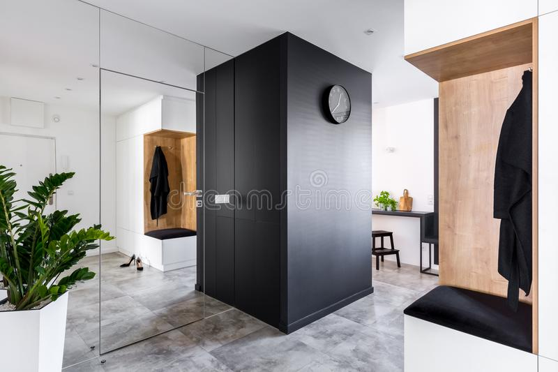 Anteroom with modern mirrored wall stock images