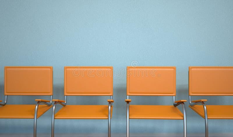 Anteroom Orange Chairs. Waiting room with orange stairs royalty free illustration