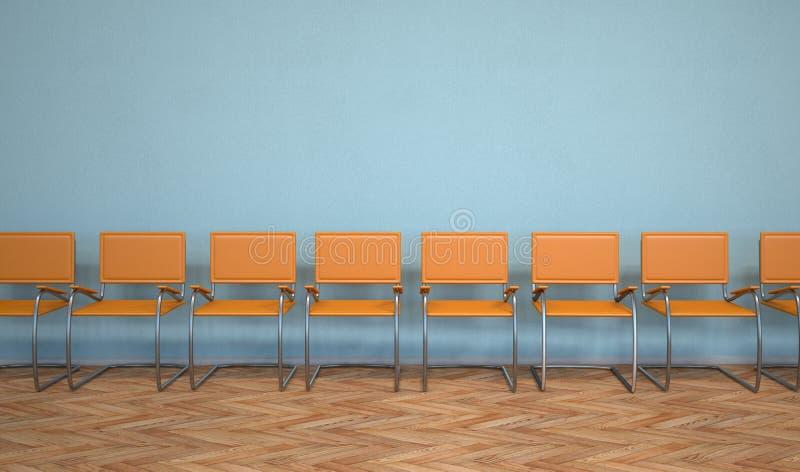 Anteroom Orange Chairs. Waiting room with orange stairs stock illustration