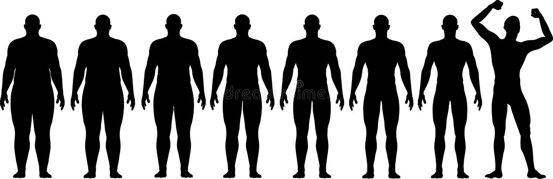 Antes após a gordura para caber o sucesso da perda de peso da dieta ilustração royalty free