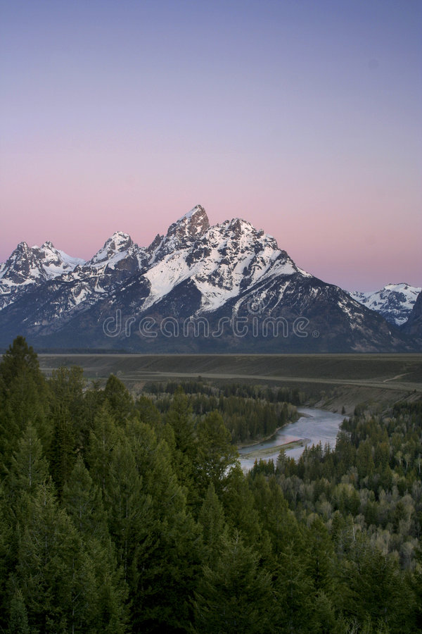 Antes Da Luz, Teton Grande Foto de Stock