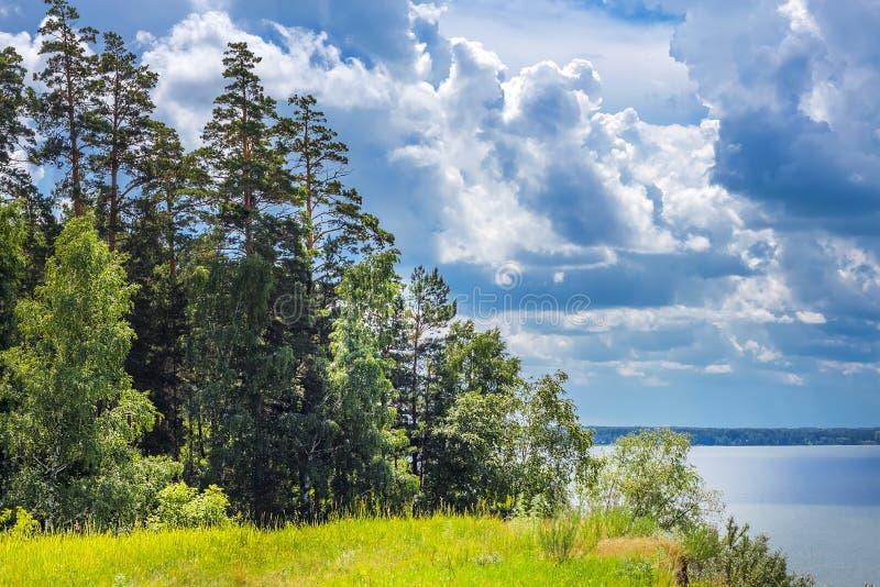 Antes da tempestade A costa do rio Ob, oblast de Novosibirsk, foto de stock