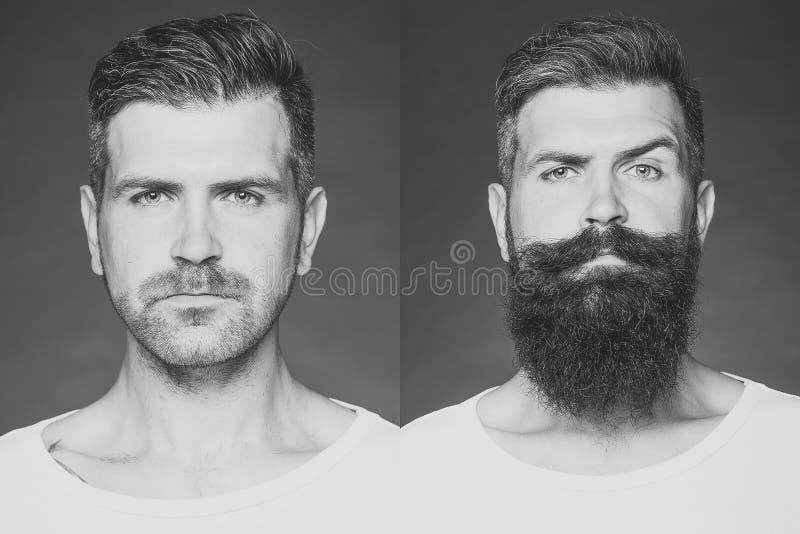 Antes de afeitar y después Dos combinaron imágenes de un hombre imágenes de archivo libres de regalías
