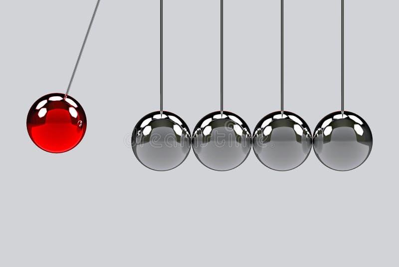 Antes de bater da bola vermelha do pêndulo a um outro grupo do pêndulo Um efeito da força a todo o conceito ilustração stock