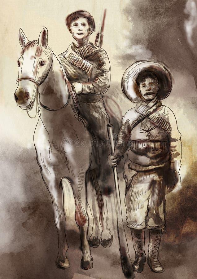 Antes de tiempo en México - un ejemplo pintado a mano ilustración del vector