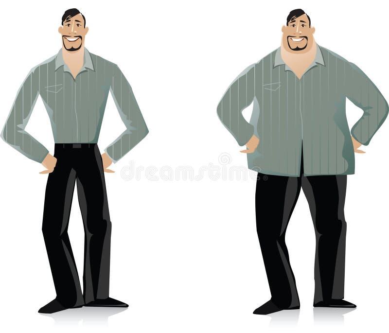 Antes e depois da dieta 2 ilustração stock