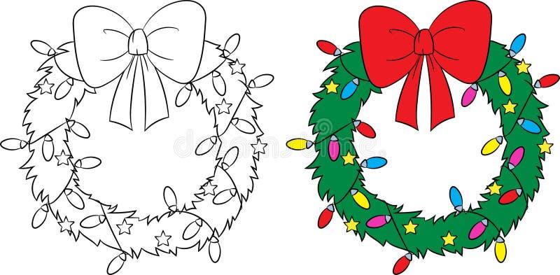 Antes e depois da ilustração de uma grinalda do Natal, a cor e preto e branco, aperfeiçoam para o livro para colorir das crianças ilustração do vetor