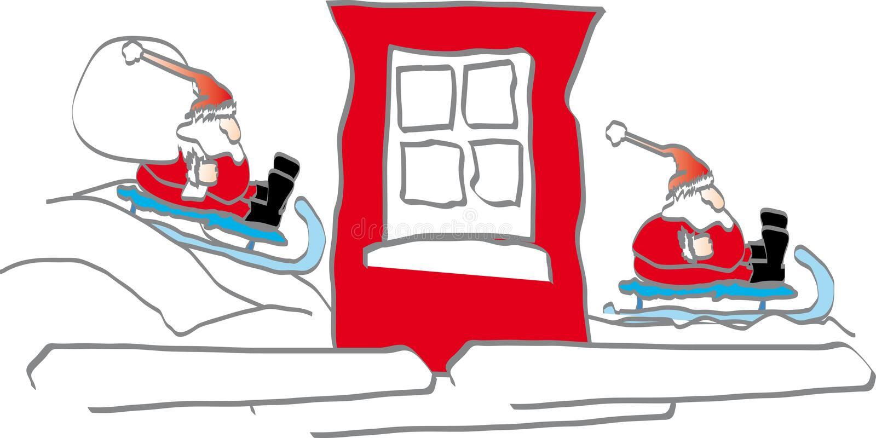 Antes e depois - de Papai Noel ilustração do vetor