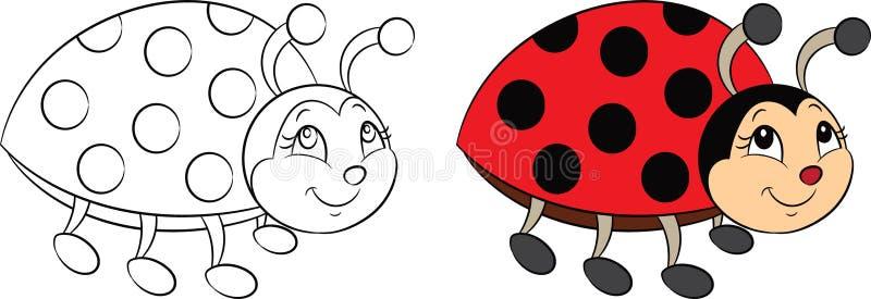 Antes e depois, desenho do kawaii do contorno e da cor de um joaninha pequeno para o livro para colorir ou o jogo colorindo das c ilustração royalty free