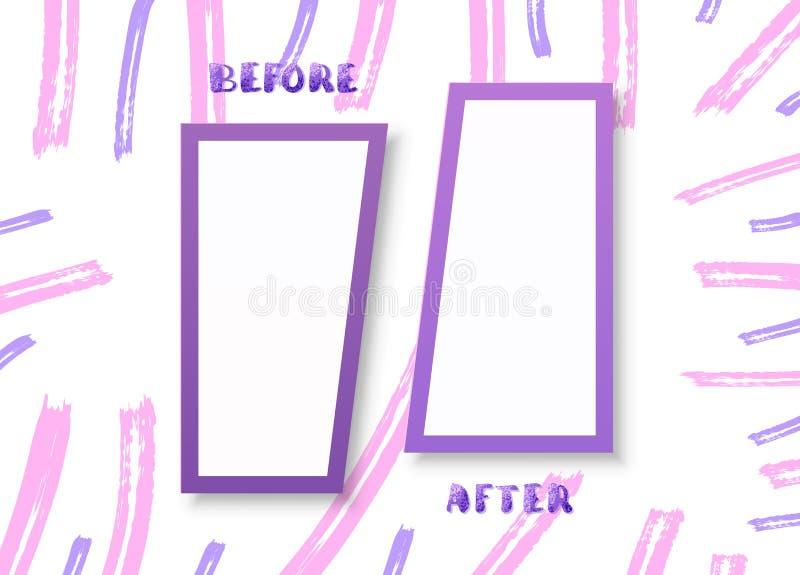 Antes e depois do cartão Ilustração do vetor ilustração do vetor