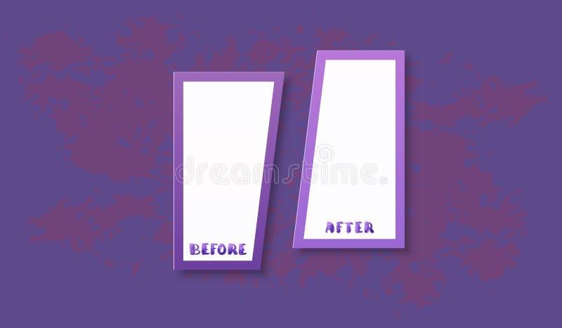 Antes e depois do cartão Ilustração do vetor ilustração royalty free
