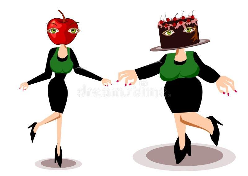 Antes e depois do conceito da dieta ilustração royalty free