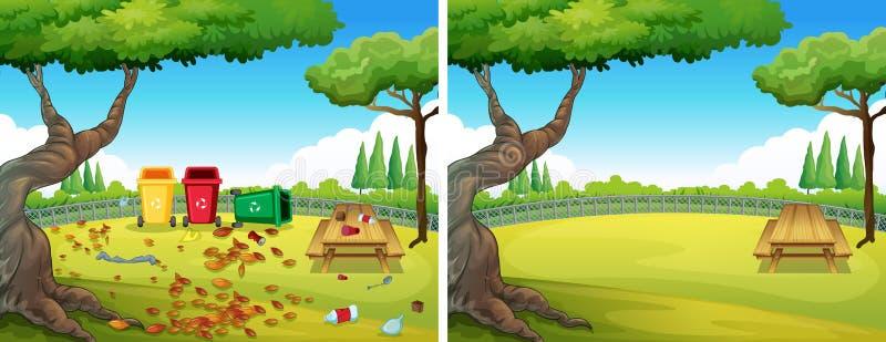 Antes e depois do jardim limpo ilustração do vetor