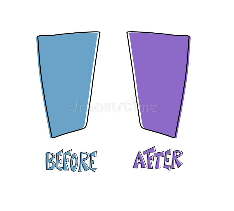 Antes e depois do molde Elementos de tela do vetor ilustração do vetor