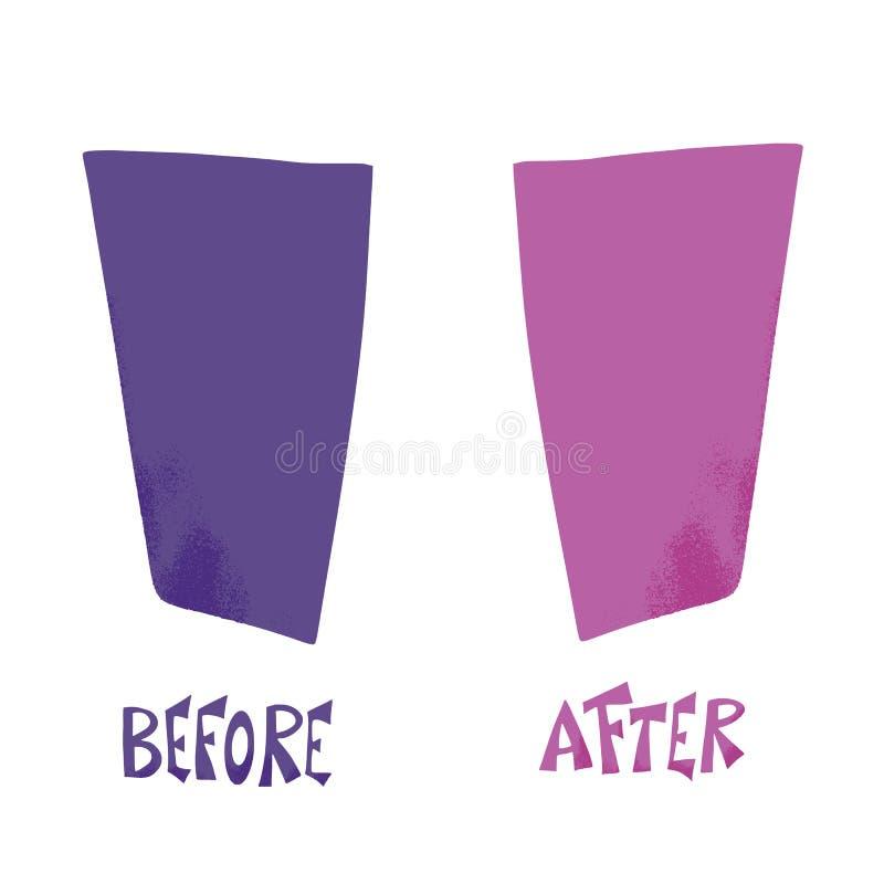 Antes e depois do molde Elementos de tela do vetor ilustração stock