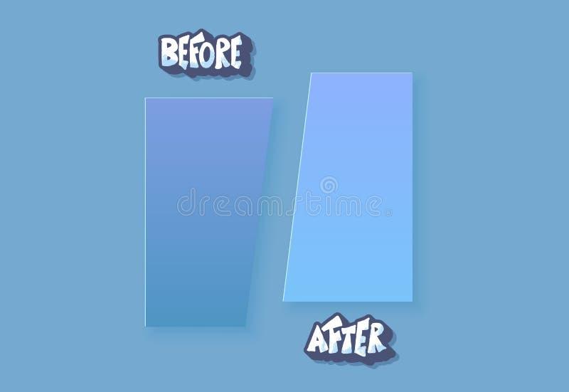 Antes e depois do molde Elementos de tela do vetor ilustração royalty free