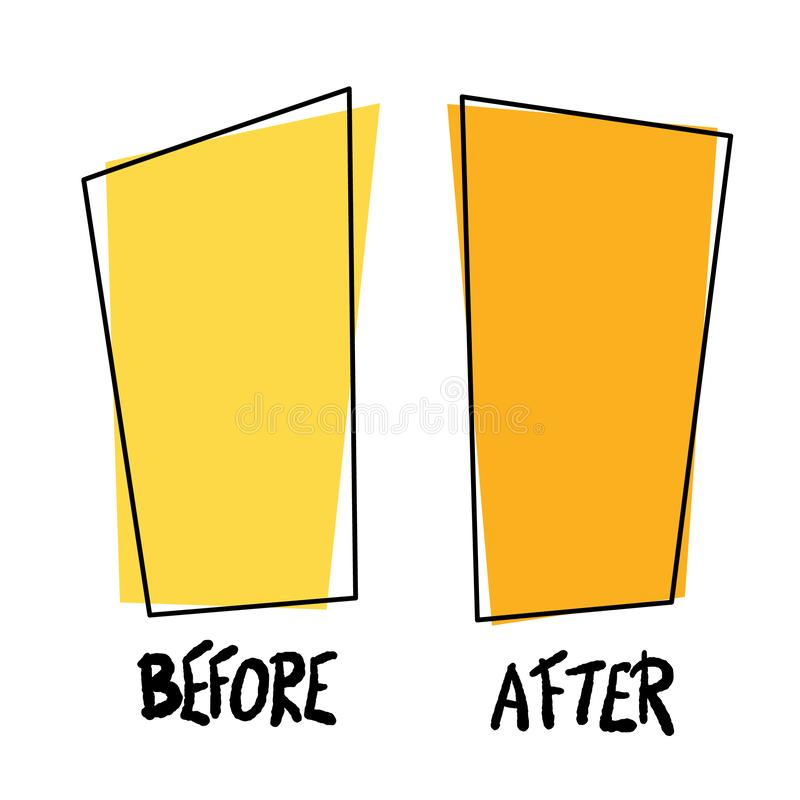 Antes e depois do molde Ilustra??o do vetor ilustração do vetor