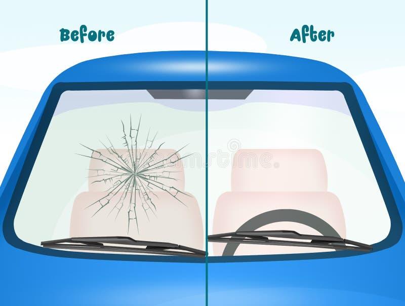 Antes e depois do reparo do para-brisa ilustração stock