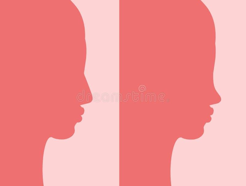 Antes e depois do rhinoplasty ilustração royalty free