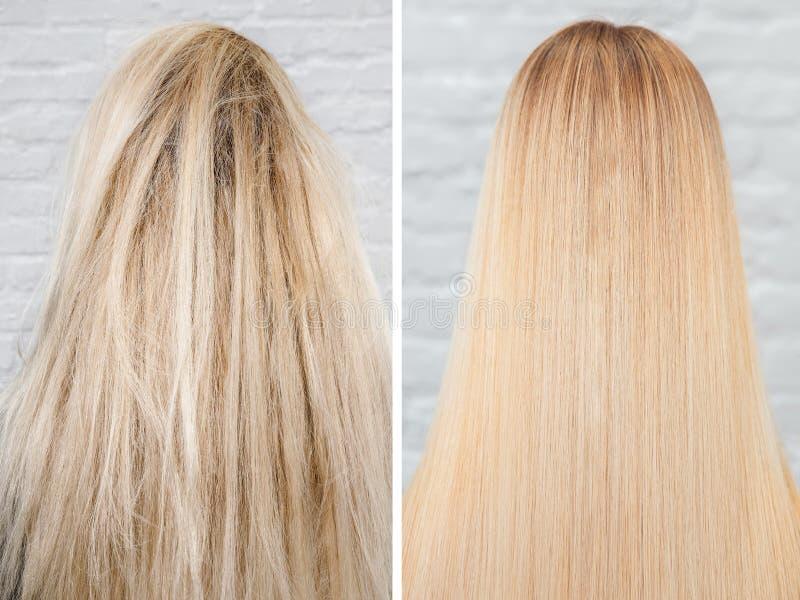 Antes e depois do tratamento do straightenin Queratina doente, cortada e saud?vel dos cuidados capilares imagens de stock
