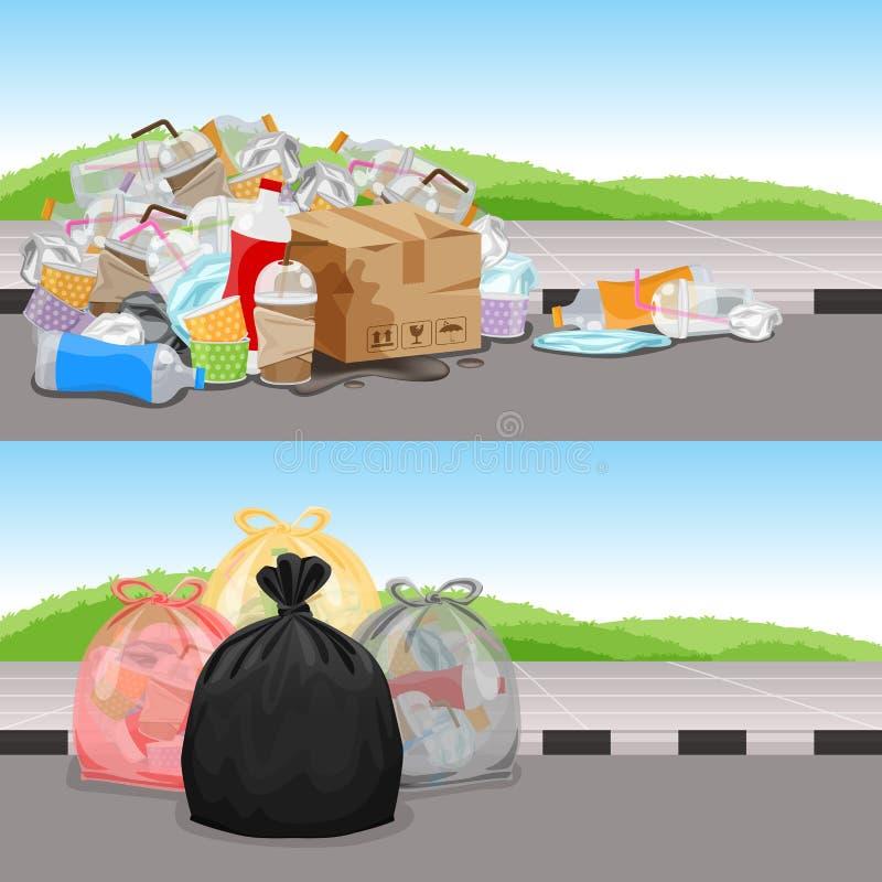 Antes e depois na separação do desperdício da limpeza do conceito, o lixo ensaca o desperdício plástico para a bandeira do f ilustração do vetor