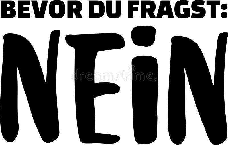 Antes que você pedir: não alemão ilustração do vetor