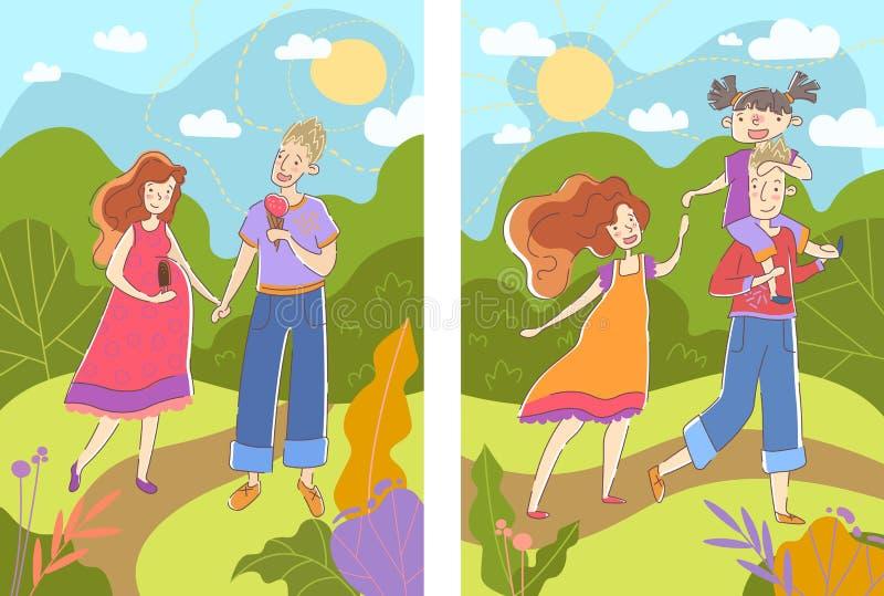 Antes y después de imágenes de una mujer embarazada que la muestra que camina en un parque del verano con su marido con un bebé h libre illustration