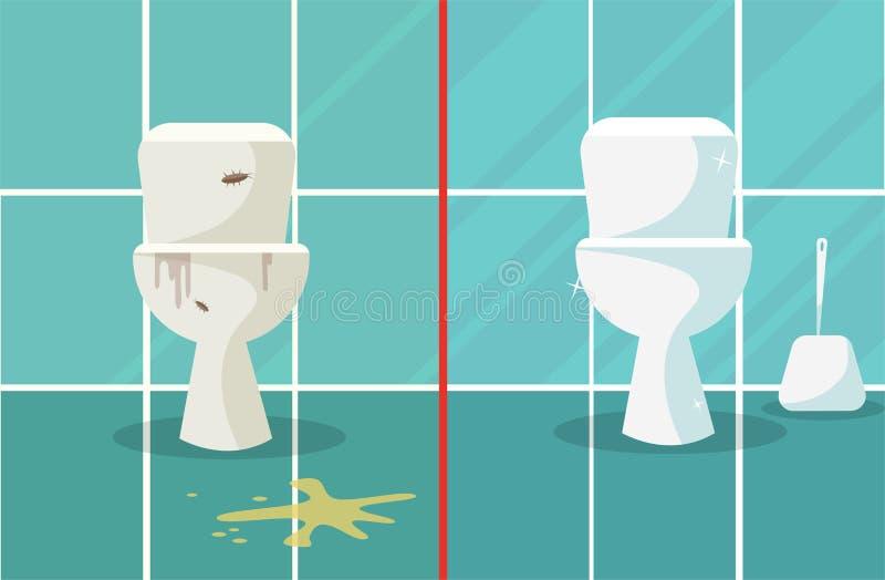 Antes y despu?s de la limpieza Composici?n sucia y limpia de los retretes que representa dos cuencos del servicio antes despu?s d ilustración del vector