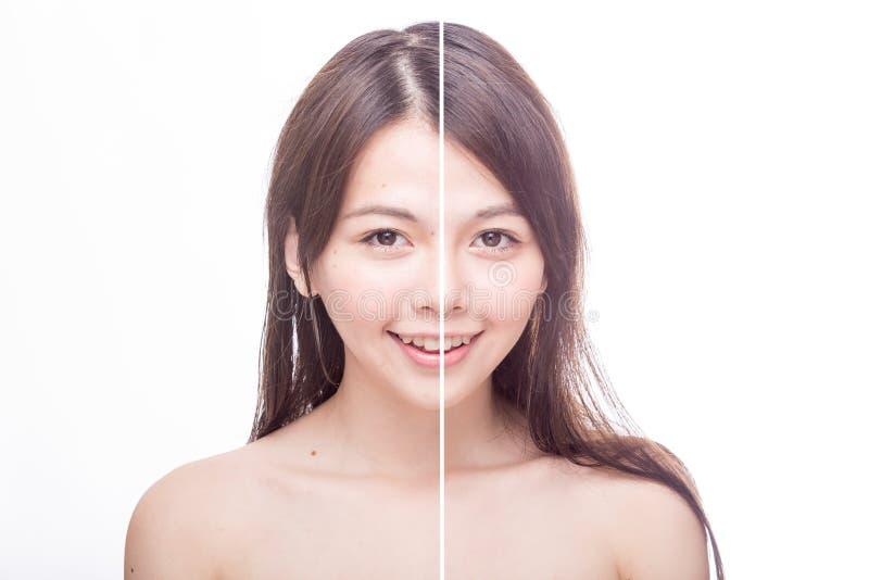 Antes y después del retrato de la belleza imagen de archivo