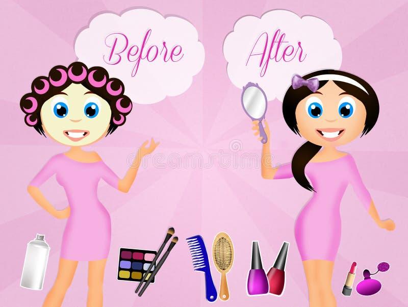 Antes y después del tratamiento de la belleza stock de ilustración