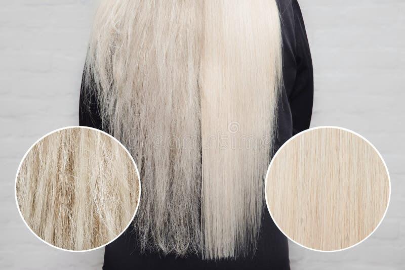 Antes y después del tratamiento Queratina para el cuidado del cabello enferma, cortada y saludable imagenes de archivo