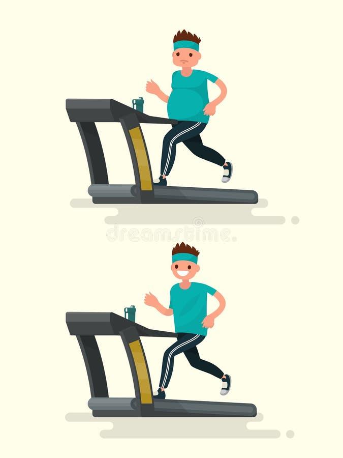 Antes y después Hombre obeso que corre en una rueda de ardilla y él después stock de ilustración