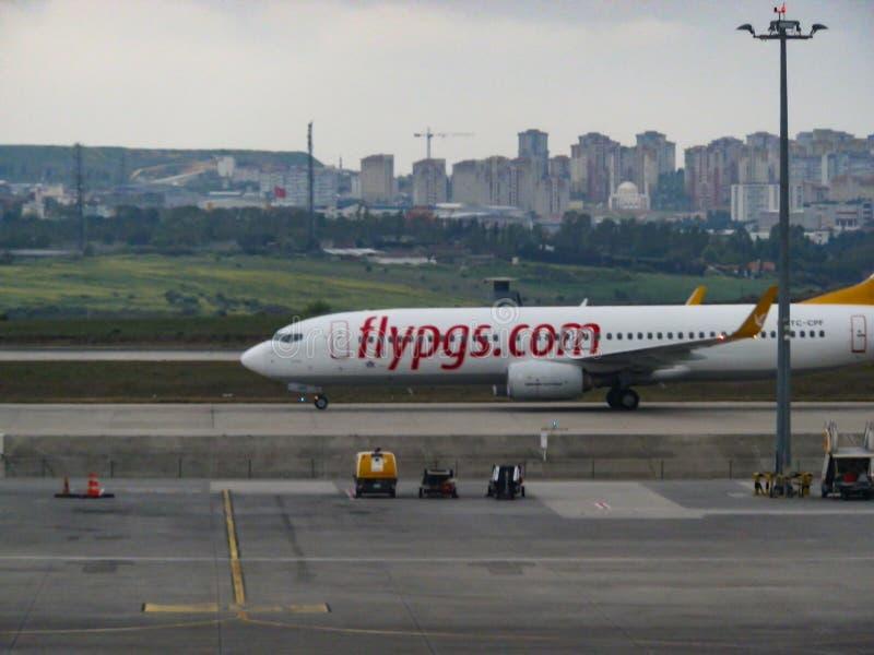 ANTHALYA,土耳其, 7月7,2017土耳其语在伊斯坦布尔机场飞行 库存照片