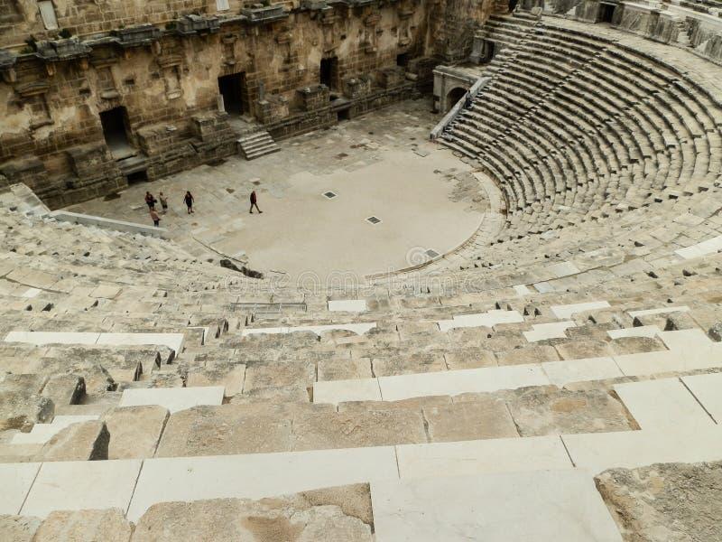 ANTHALYA, die TÜRKEI, coloseum JULIS 7,2017 Aspendos in der Türkei lizenzfreies stockbild