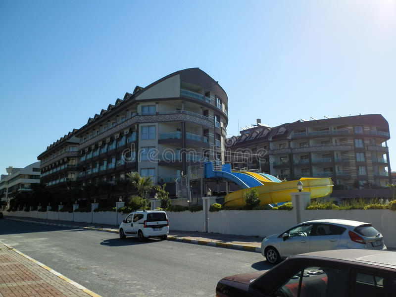 ANTHALYA, TURQUIE, beaux hôtels chers turcs de JUILLET 7,2017 images libres de droits