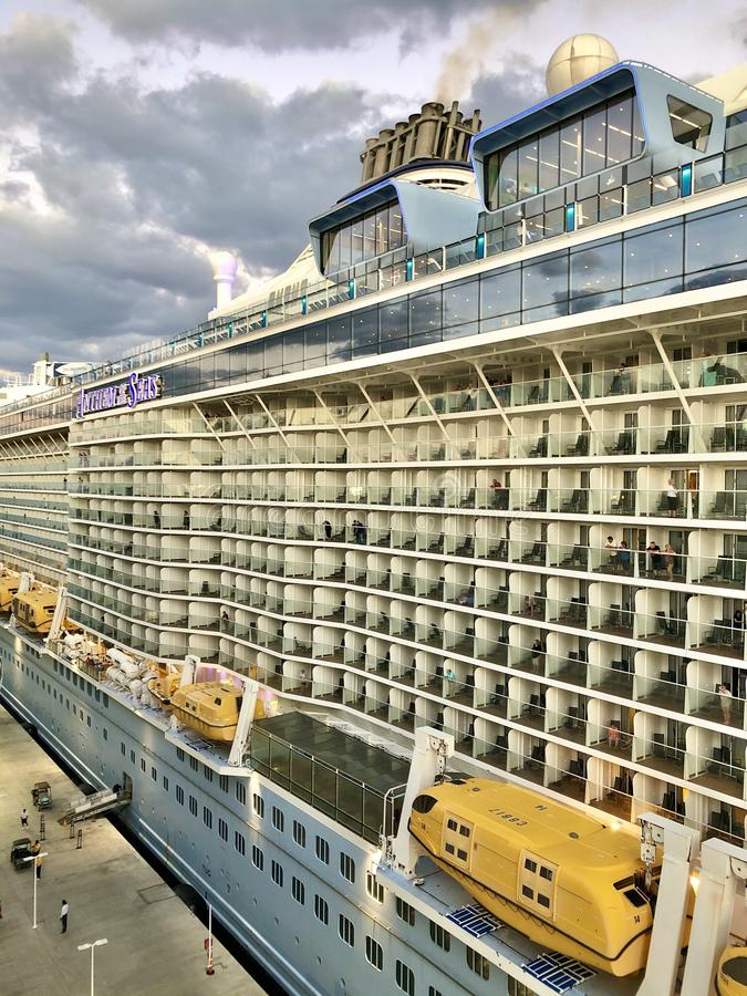 Anthem of the Seas in CocoCay, Bahamas. Anthem of the Seas, Royal Caribbean International cruise ship at the Perfect Day at CocoCay, Royal Caribbean Cruise Lines stock photo