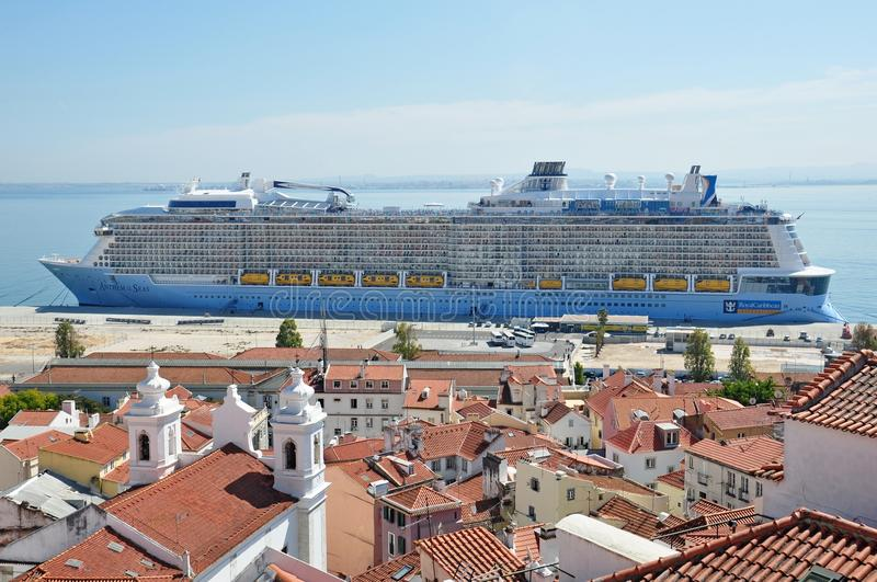 Anthem of the Seas. Cruise ship docked in Lisbon, Portugal royalty free stock photo
