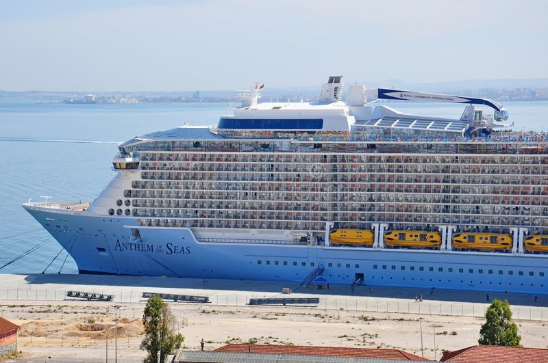 Anthem of the Seas cruise ship. Docked in Lisbon, Portugal stock image