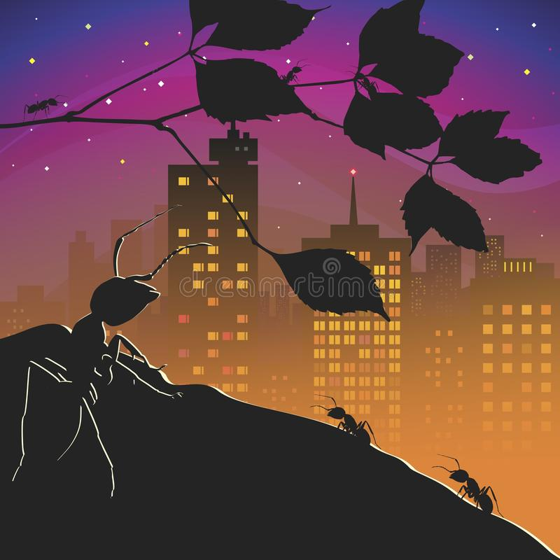 Anthill. In the park Ant looks at the ant hill for people. Vector format