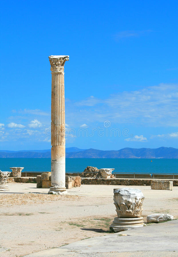 Anthique Roman columns in Carthage stock photography