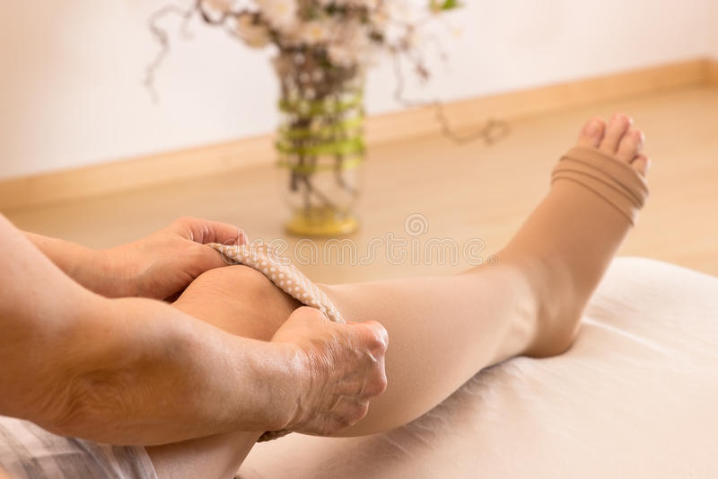 Anthithrombotic stockings royalty free stock photo