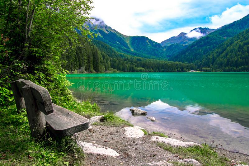 The Antholzer See a lake in South Tyrol, Italy royalty free stock images