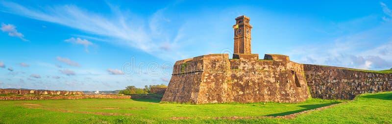 Anthonisz minnes- klockatorn i Galle panorama royaltyfria bilder